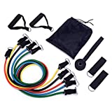 11pc Resistance Band Set -80lbs up Door Anchor, Handles, Ankle Straps, Tribe Anti-SNAP Promise Resistance Training, Physical Therapy, Home Workouts, Exercise Chart,