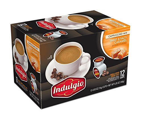 Indulgio Cappuccino, Sweet & Salty Caramel, 12-Count Single Serve Cup for Keurig K-Cup Brewers (Compatible with 2.0 Keurig Brewers)