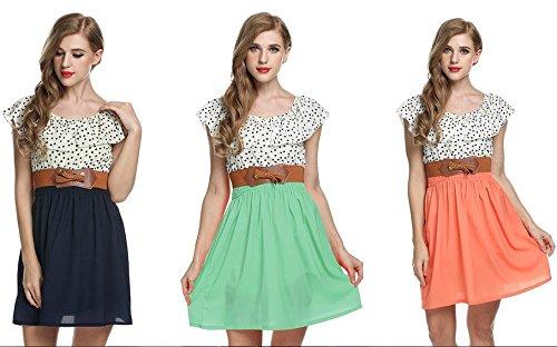 Zeagoo Damen Vintage Sommerkleid Punkt Partykleid Polka Dots Rundhals Minikleid mit Gürtel Blau 8nTg9hp7