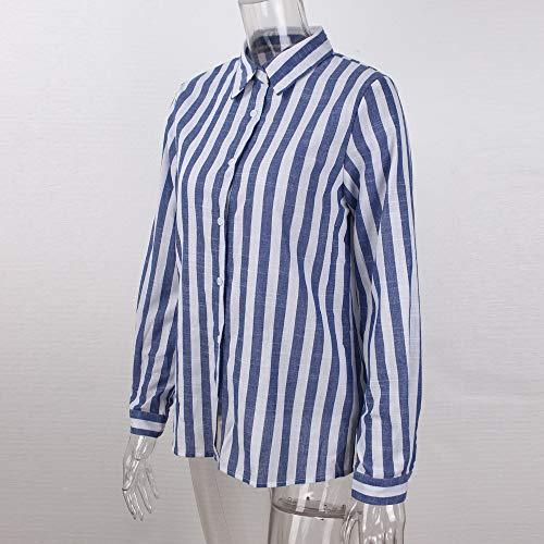Eleganti Righe Elegante Chiffon Sottile Camicia V Felpa Collo Blouse Tops Camicie Blu Maglia Manica LiucheHD da Bluse Lunga Donna a Donna Blusa qXgXUZ