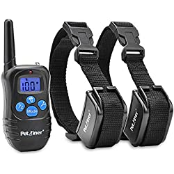 Petrainer PET998DRB2 Rechargeable Dog Shock Collar with Remote Dog Training Collar with Beep Vibration Shock Collar for Dogs Small Medium Large,1000ft Remote Range
