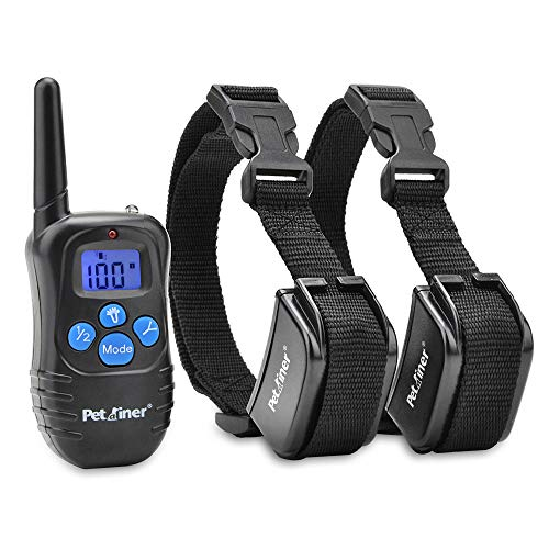 Petrainer PET998DRB2 Rechargeable Dog Shock Collar with Remote Dog Training Collar with Beep Vibration Shock Collar for Dogs Small Medium Large,1000ft Remote Range ()