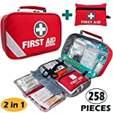 2-in-1 First Aid Kit (215 Piece) + Bonus 43 Piece Mini First Aid Kit -Includes Eyewash, Ice(Cold) Pack,Moleskin Pad,CPR Face Mask and Emergency Blanket for Travel, Home, Office, Car, Workplace