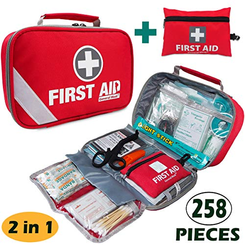 2-in-1-First-Aid-Kit-215-Piece-Bonus-43-Piece-Mini-First-Aid-Kit-Includes-Eyewash-IceCold-PackMoleskin-PadCPR-Face-Mask-and-Emergency-Blanket-for-Travel-Home-Office-Car-Workplace