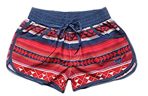 Womens Striped Swimsuit Surfing Shorts,Red, L