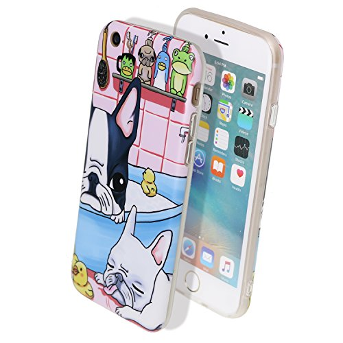 Arunners iPhone 6 Plus/6s Plus Case Cover Cartoon 5.5 inch French Bulldog Cute Kawayi with Multi-Use Strap - Black White Bulldog (French Bulldog 6plus Case compare prices)