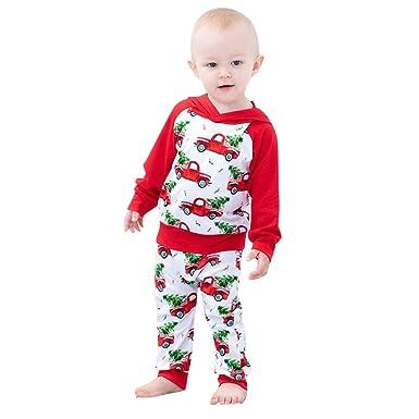 63845bf81 K-youth Conjunto Bebe Niño Navidad Regalo Bebe Niño Ropa Bebe Niña Invierno  Manga Larga Coche Arbol de Navidad Sudadera con Capucha Recién Nacido  Camisetas ...