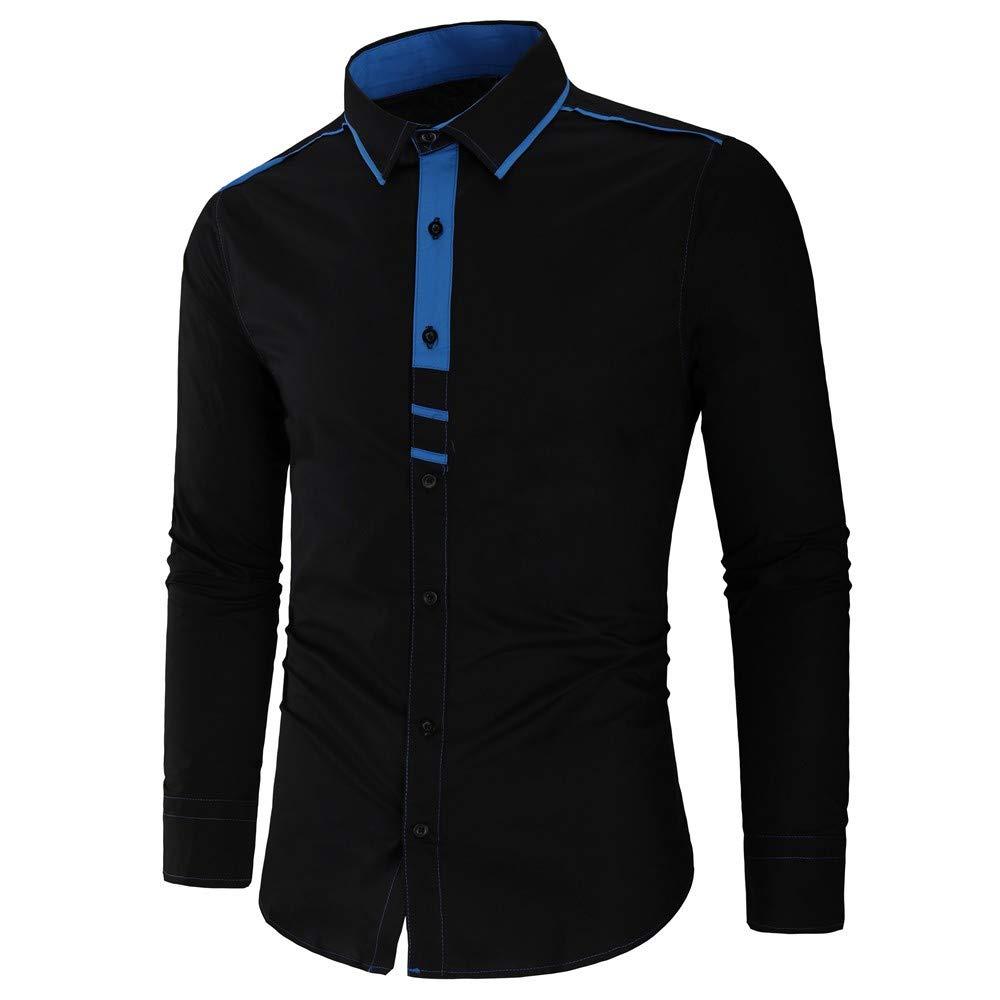 Mens Dress Shirts,Casual Patchwork Business Shirt Formal Slim Fit Interview Blouse Top Zulmaliu