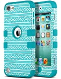 iPod Touch 5 Case,iPod Touch 6 Case,ULAK 3in1 Anti Slip iPod Touch 5 Case Hybrid with Soft Flexible Inner Silicone Skin Protective Case Cover for Apple iPod Touch 5 6th Generation (Wave Pattern/Blue)