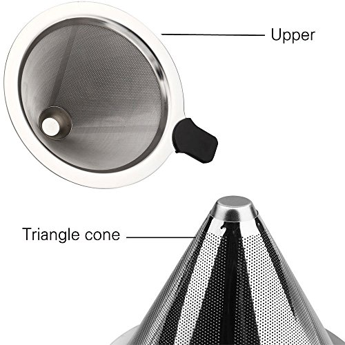 Tai-ying Pour Over Coffee Dripper Filter, Stainless Steel Permanent Reusable Paperless Cone Filters By Tai-ying Double Mesh Drip Coffee Filter For V60 Hario and Other Coffee Carafes by Tai-ying (Image #4)