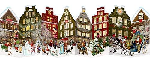 [해외]Coppenrath 독특한 전통 무료 스탠딩 어드밴트 크리스마스 캘린더 아름다운 접이식 - 프리미엄 독일산 - 고급 독일 크리스마스 스트리트 / Coppenrath Unique Traditional Free Standing Paper Advent Christmas Calendar Beautiful Foldout - Premi...