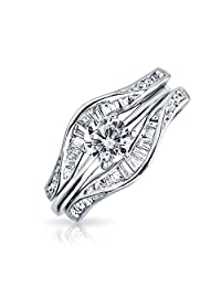 Bling Jewelry Silver Baguette CZ Round Engagement Wedding Ring Guard Set