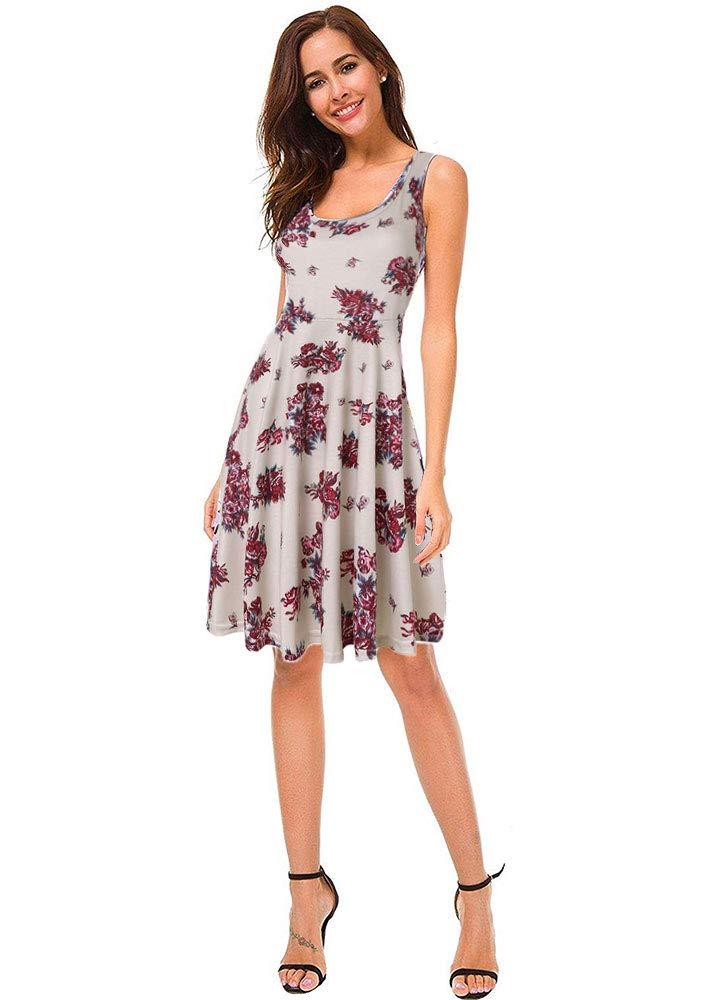 YIPWIN Women's Sleeveless Floral Print Casual Dress Hawaiian Summer Midi Dresses (Floral/Beige,M)