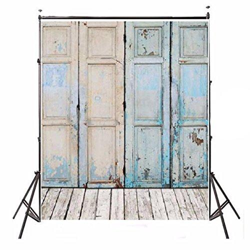Showyou 5x7ft Vintage Oil Painting Vintage Wooden Door Background Studio Props Silk Photography Backdrop