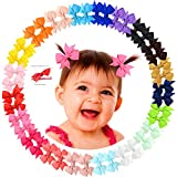 40pcs 2' Mini Grosgrain Ribbon Pinwheel Hair Bows Alligator Clips for Baby Gilrs Toddlers Kids in Pairs