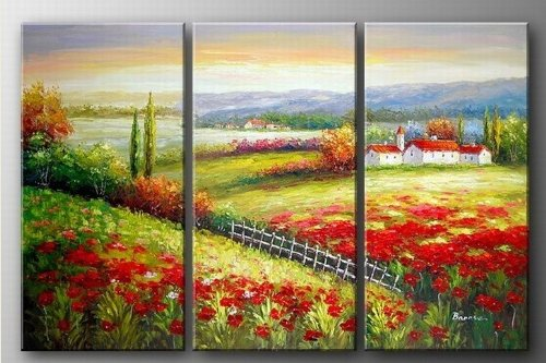 100% Hand Painted Modern Oil Painting on Canvas Tuscany Red Poppy Field Wall Art Home Decoration 3 Piece Canvas Art Unframe and Unstretch (Painting Tuscany Oil)