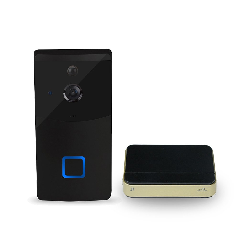Ocamo Creative Wireless Wi-Fi Ring Doorbell with Visual Intercom Low Power Consumption Home Security Monitor with Reminding Device black by Ocamo