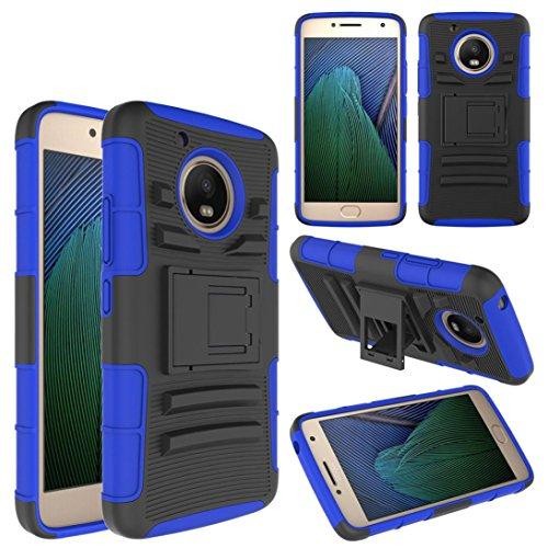 Price comparison product image For Motorola Moto E4 2017/G5 , Vanvler Hybrid Phone Case Durable Kickstand Holster Belt Clip Cover (Blue)
