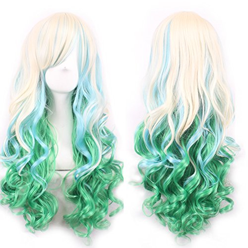 Ellena®Womens/Ladies 80cm Pink&Green Color Long CURLY Cosplay/Costume/Anime/Party/Bangs Full Sexy Wig (80cm,Curly Pink&Green) -