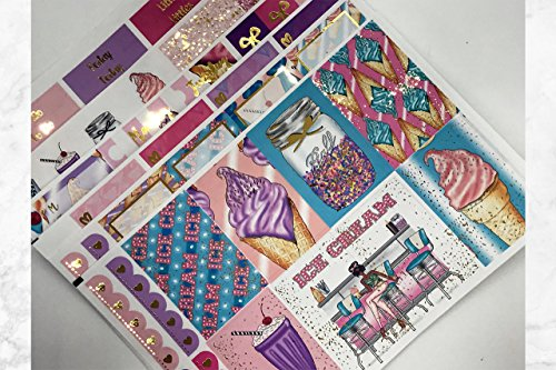 Ice Cream Parlor, Foil Planner Sticker Kit 6 sheets. Erin Condren Life Planner or Happy Planner Create 365 sizes available. Kiss cut, just peel and stick.