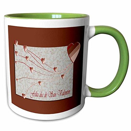 3dRose Beverly Turner Valentine Design - Feliz dia de San Valentin, Happy Valintines Day in Spanish, Copper Hearts - 11oz Two-Tone Green Mug (mug_37053_7)