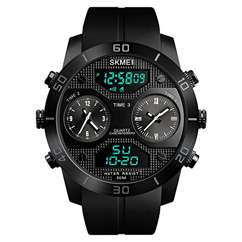 Tayhot Mens Multi Time Zone Dual Display Digital Analog Quartz Watches 5Atm Waterproof Sports Outdoor Chronograph 3 Time Wrist Watch With Alarm El Backlight Date Week