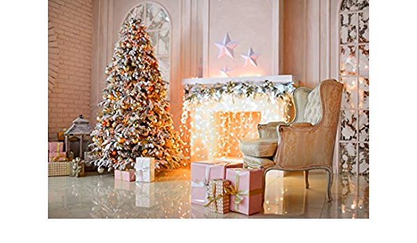 YongFoto 5x3ft Christmas Vinyl Backdrop Fireplace Candles Xmas Tree Lights Glitter Stars Photography Background Party Theme Banner Family Home Decor Poster Portrait Photo Shoot Studio