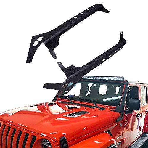 HEQIANG 2PCS LED Light Bar Mounting Brackets Over Windshield Work Lights Lamps on A Pillar Mount Brackets for Jeep Wrangler JL 2018 Fit 52'' Straight Light Bar No Drilling Required ()