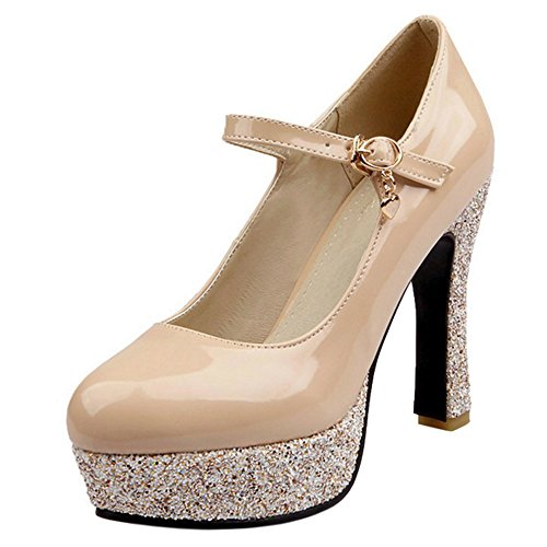 Women Mary TAOFFEN Jane Beige Platform Pump Heel High Shoes Court Ofwxqw67