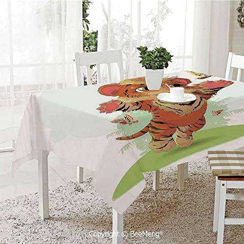 (Dining Kitchen Polyester dust-Proof Table Cover,Cartoon Decor,Little Cub Playing with Butterflies in The Meadow Joyful Lively Baby Tiger Cat,Orange Cream Green,Rectangular,59 x 59 inches)