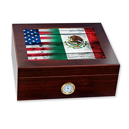 Mexico Usa Cigars - ExpressItBest Premium Desktop Humidor - Glass Top - Flag of Mexico (Mexican) - Wood with USA Flag - Cedar lined with humidifier & front mounted hygrometer.