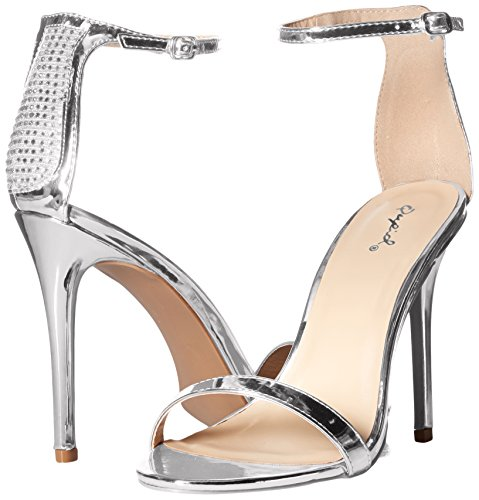 Heeled Single Women's Qupid Silver Sole Sandal 0Cpnxqtg