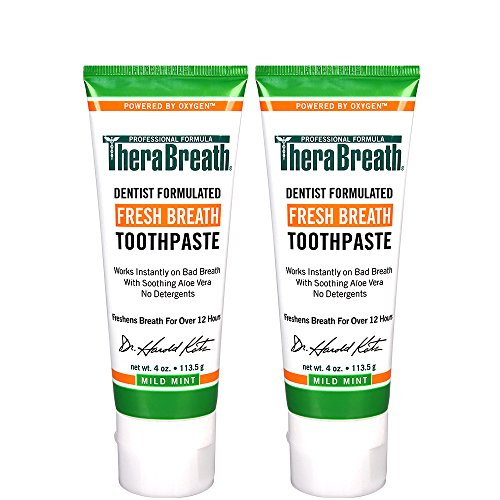TheraBreath Dentist Formulated  Fresh Breath Anti-Cavity Toothpaste, Mild Mint, 4 Ounce (Pack of 2)