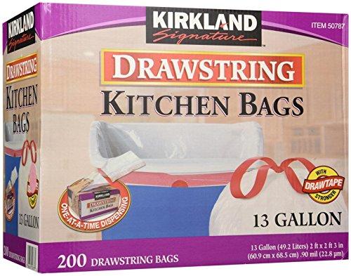 Kirkland Signature Drawstring Scullery Trash Bags - 13 Gallon - 200 Count