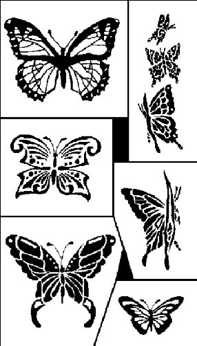 Armour Products Etch Rub N Etch Stencil, 5-Inch by 8-Inch, Butterflies -