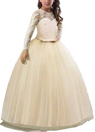 390a881868c1 Shiny Toddler Girls Long Sleeves Lace Crochet Wedding Pageant Full Length  Dress Champagne 3-4