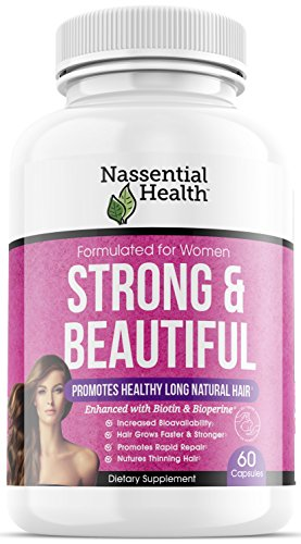 Strong & Beautiful Hair Supplement for Women - Grow Hair Faster, Longer and Stronger - Hair Growth Vitamin Formula with Biotin 5,000 mcg, Bamboo & Keratin - for All Hair Types - Made in USA
