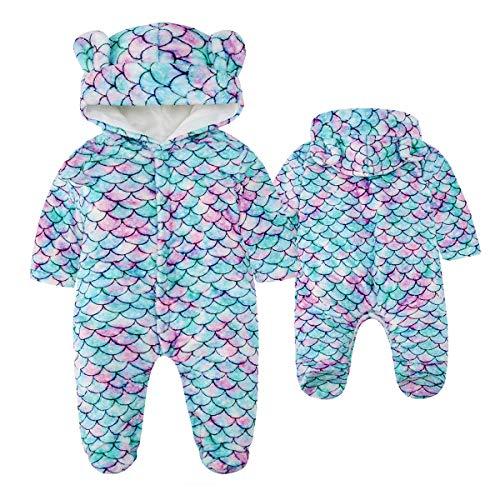 Kids4ever Baby Warm Fleece Snowsuit Bear Ear Hooded Romper Flannel Footie Pajamas (Mermaid, 9-12 Months)