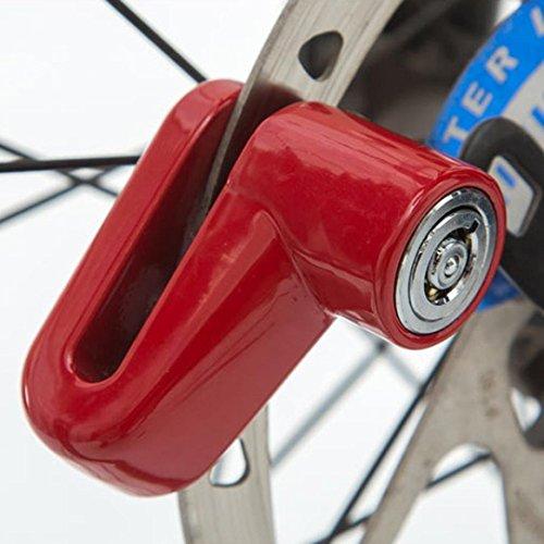 Hiyoo Safety Disc Lock Motorcycle Bike Anti-Theft Wheel Disc Brake Lock Padlock Waterproof Loud for Motorcycle Bike Scooters Mountain Road MTB Cycling Rotor Disc Brake Wheel Lock with Two Keys (Red)