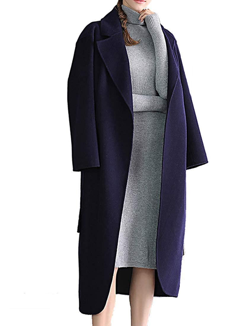 Helan Women's Handmade Pure Color Wool Long Coat