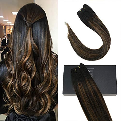 Sunny 14inch Seamless Weft Sew in Hair Extensions Human Hair Black Balayage Medium Brown to Natural Black #1B/6/1B Brazilian Hair Bundles Straight 100% Remy Human Hair 100g/pack
