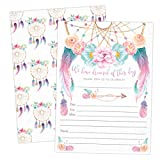 Boho Dream Catcher Baby Shower, Engagement, Bridal Shower, Wedding Rehearsal, Birthday, Graduation Party Invitations, Tribal Dreams Come True Invites with Envelopes
