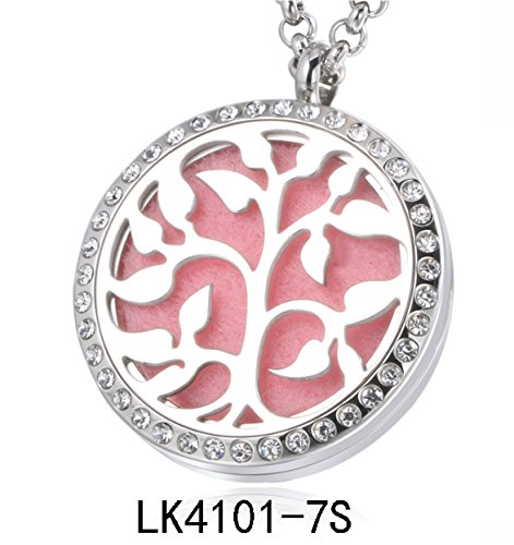 Price comparison product image Tree of Life or Rose Essential oil Aromatherapy Diffuser Locket Pendant Necklace Silver or Rose Gold with Crystal Border (Silver Tree of Life crystals clear back)