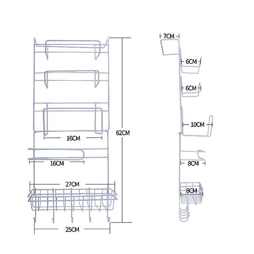 Yontree Estante Frigorífico Multifunción Estantería de Cocina para Película Adhesiva Papel de Rollo Botes de Especias Blanco: Amazon.es: Hogar