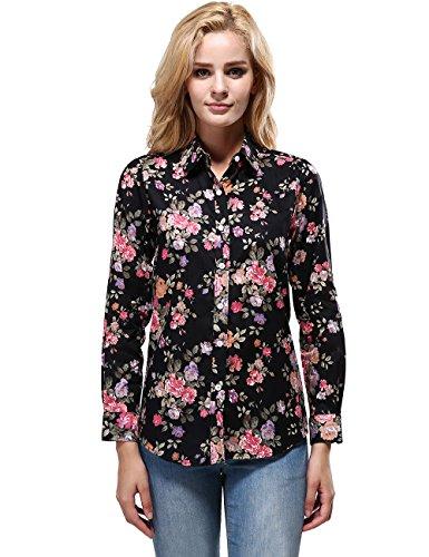 Xi Peng Women's Tops Feminine Vintage Blouse Button Down Floral Shirts (XX-Small, Dark Black)