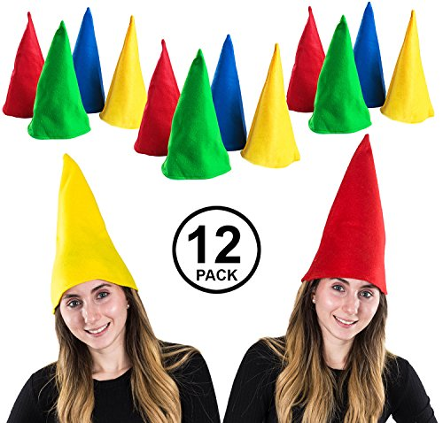 Funny Party Hats Gnome Hats - Set of 12 Hats - Dwarf Hats - Dwarf Costume - Gnome Costume -