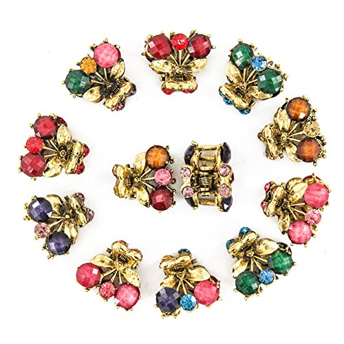 Price comparison product image Yeshan Set of 12 Pcs Fruit Design No-slip Hair Grip Metal Mini Jaw Clip, Rhinestone and Crystal Claw Hair Clip