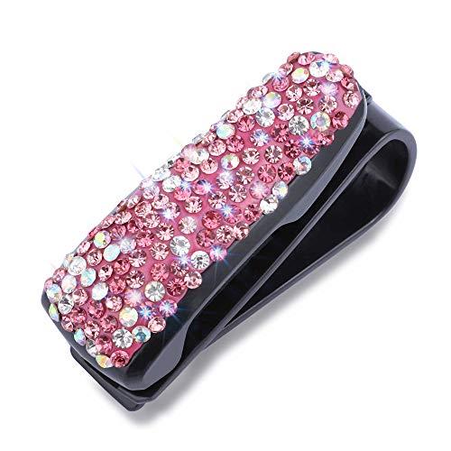 WINKA Visor Clips for Cars Rhinestone Car Accessories Shinning and Sparkling Sunglasses Clip Visor Eyeglass Holder 1PCS Colorful Pink