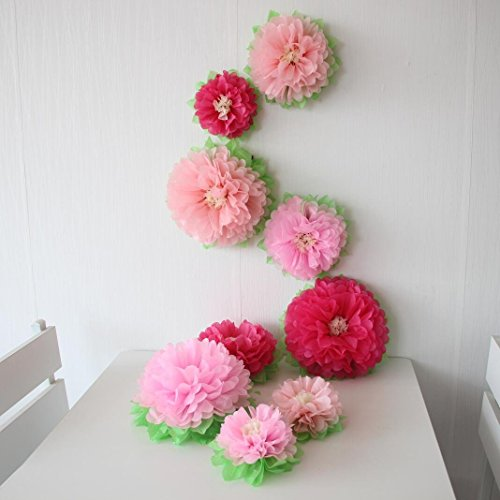 Mybbshower Pink Wedding Paper Flower Backdrop Birthday Party Nursery Living Room Home Decoration Pack Of 9