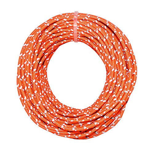 (GM CLIMBING Reflective Utility Cord 50feet 2.5mm Orange 300LB High Strength Hi-Vis Less Stretch Guyline for Tent Tarp Hammock Rigging Outdoor General Use)